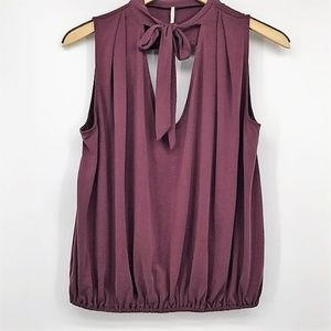 Free People Sleeveless Blouse Front Tie Wine S